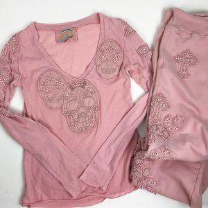 Johnny Was Joystick Pink Beaded Skull Pajama Set S